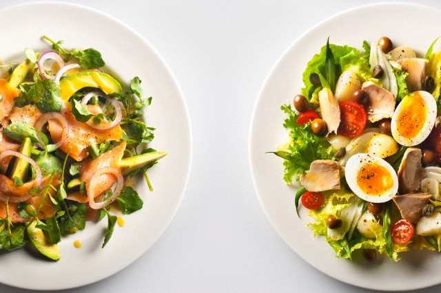 Port Ewen, New York State, USA --- Smoked Salmon Salad + Nicoise Salad --- Image by © Mascarucci/Corbis