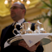 waiter serving tea silver