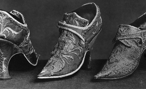 Womens shoes from Reign of Louis XV 1699 France Paris Cluny Museum History of the Shoe - EAT LOVE SAVOR International luxury lifestyle magazine and bookazines