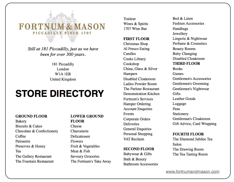 FORTNUM AND MASON STORE DIRECTORY DISCOVER: Fortnum and Mason. Purveyors of High Quality Goods Since the 1700's - EAT LOVE SAVOR International luxury lifestyle magazine and bookazines