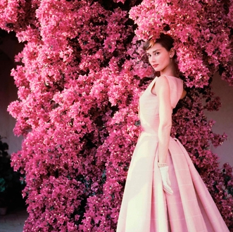 Audrey Hepburn garden in pink Gardens of the World with Audrey Hepburn - EAT LOVE SAVOR International luxury lifestyle magazine and bookazines