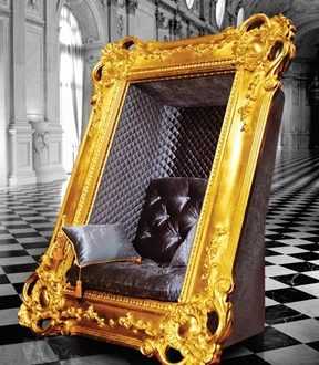 Frame Chair Slokoski Gold Picture Sitting in the Lap of Luxury:  The Frame Chair - EAT LOVE SAVOR International luxury lifestyle magazine and bookazines