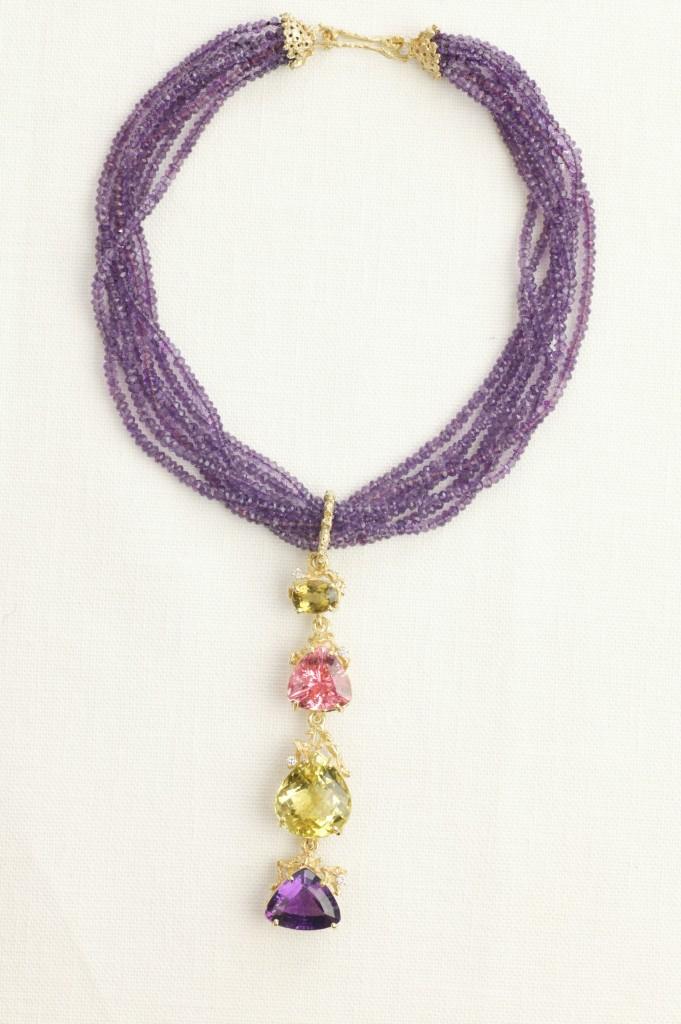 N-35 Amethyst Bead Strand Necklace L-35 Colassal Gem Pendant