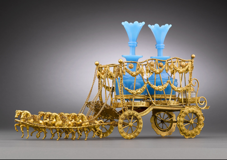 Blue Opaline an Dore Bronze Carriage Liqueur rau