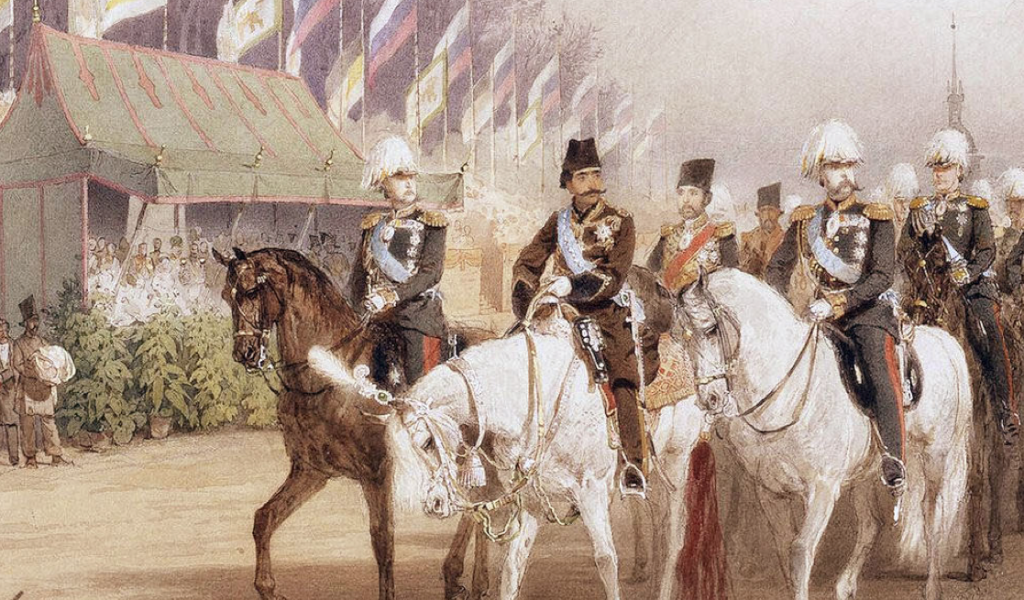 Russian ball illustration Emperor Alexander II and Shah Nasir-ud-Din during the parade at the Empress meadow