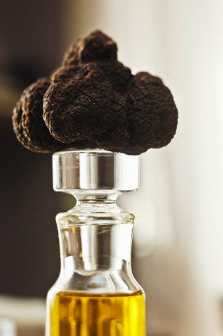 Black truffle on the top of a bottle of oil