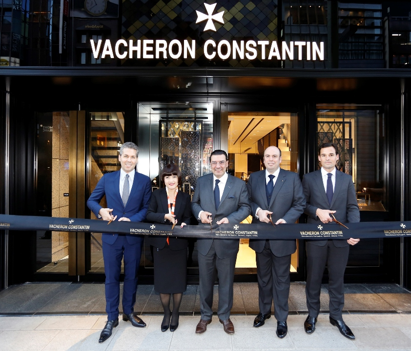 [From left to right: Julien Marchenoir, Vacheron Constantin Marketing Director, Asako Mori, Ginza Boutique Manager, Juan-Carlos Torres, Vacheron Constantin CEO, Vincent Gouget, Vacheron Constantin Brand