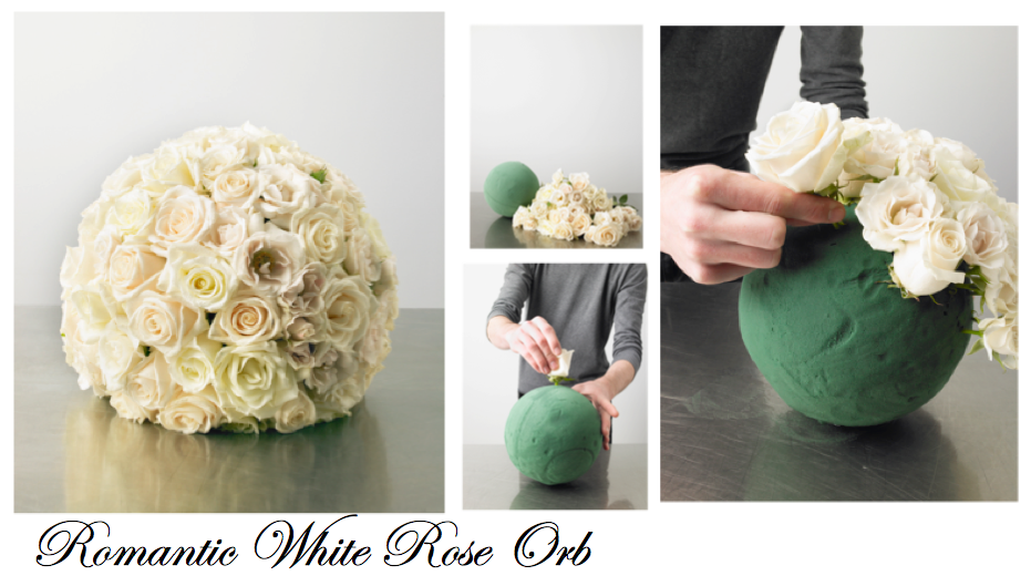 romantic white rose orb