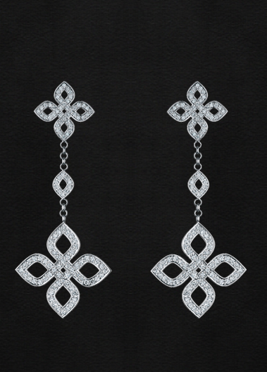 Earrings, White gold, 228 diamonds 1.410 Сt