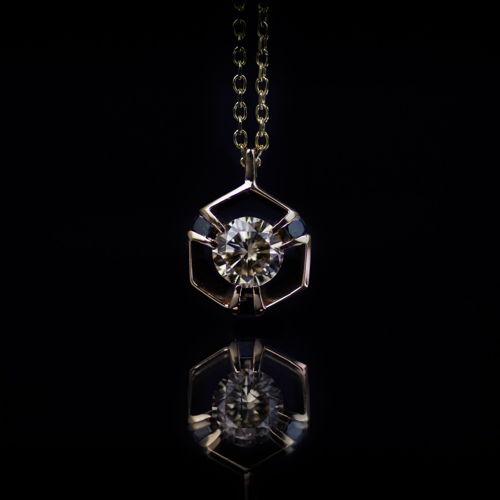 GUY&MAX Cognac, back diamond and rose gold Digital Nature pendant £8,000
