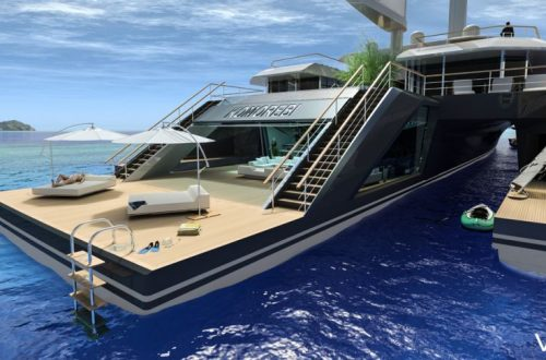 KOMOREBI exterior rear Discover: VPLP Naval Architects and Concept Superyacht Hybrid KOMOREBI Inspired by Nature EAT LOVE SAVOR International luxury lifestyle magazine and bookazines