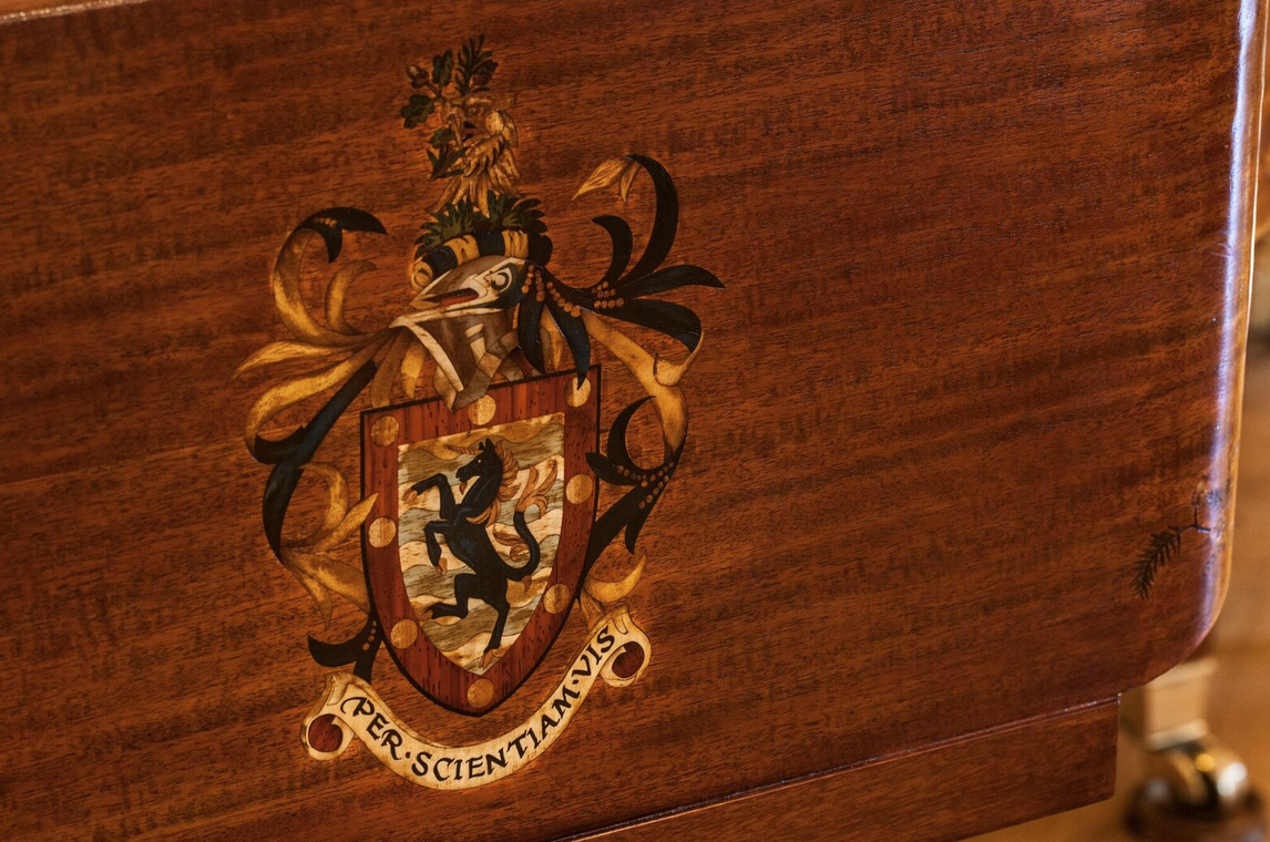 marquetry family crest 1066 piano - luxury lifestyle magazine - EAT LOVE SAVOR