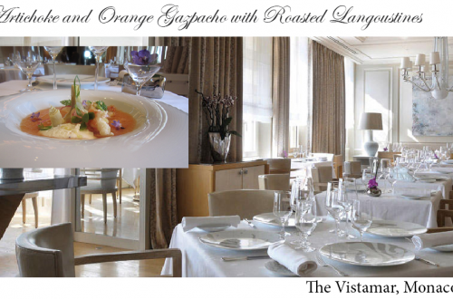 vistamar gazpacho recipe Recipe: Artichoke and Orange Gazpacho with Roasted Langoustines EAT LOVE SAVOR International luxury lifestyle magazine and bookazines