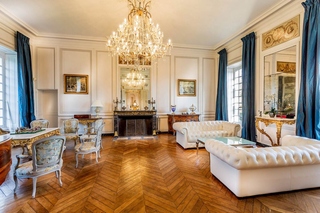 French chateau-haute-normandie-view-of-fireplace- eat love savor luxury lifestyle magazine
