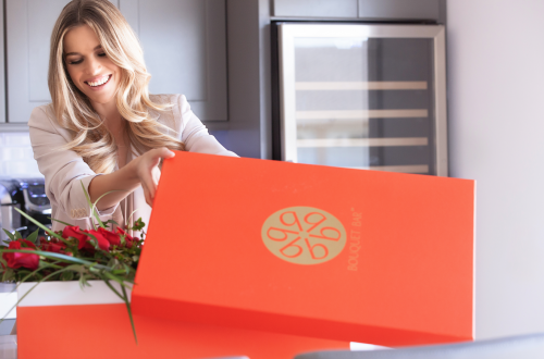 Bouquet box woman opening Give the Gift of a Luxury Floral Box - EAT LOVE SAVOR International luxury lifestyle magazine and bookazines