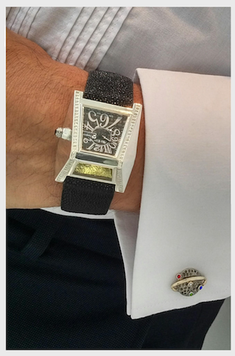 Mo Eden british drivers watch with cufflinks Discover: Mo Eden's Bespoke Gentleman's Evening Driving Watch - EAT LOVE SAVOR International luxury lifestyle magazine and bookazines