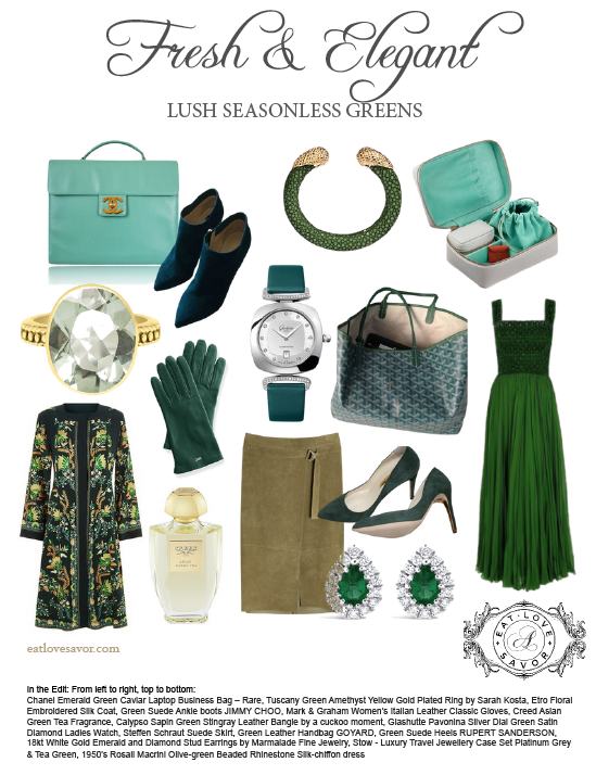 green fashion color story - eat love savor - luxury lifestyle magazine