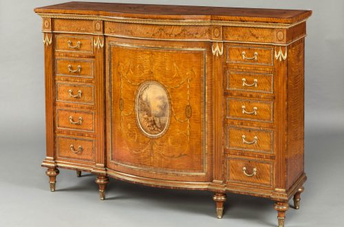 8000 Satinwood Cabinet firmly attributed to Wright Mansfield Decorative Motifs of the English Neoclassical Style - EAT LOVE SAVOR International luxury lifestyle magazine and bookazines