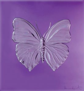 Eternal Beauty Damien Hirst for Lalique purple crystal limited edition All bow for the SuperYacht Gallery at Saatchi London - EAT LOVE SAVOR International luxury lifestyle magazine and bookazines