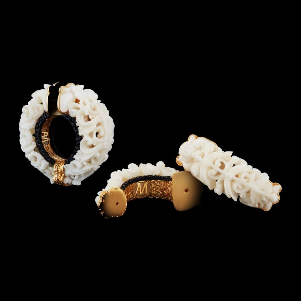 Alexandra Mor Carved Subang Tagua Seed and Black wood Hoop earrings 1  AMEAR TAGOOL A Alexandra Mor Debuts First Of It's Kind Sustainable Haute Joaillerie - Tagua Seeds Capsule Jewelry Collection - EAT LOVE SAVOR International luxury lifestyle magazine and bookazines