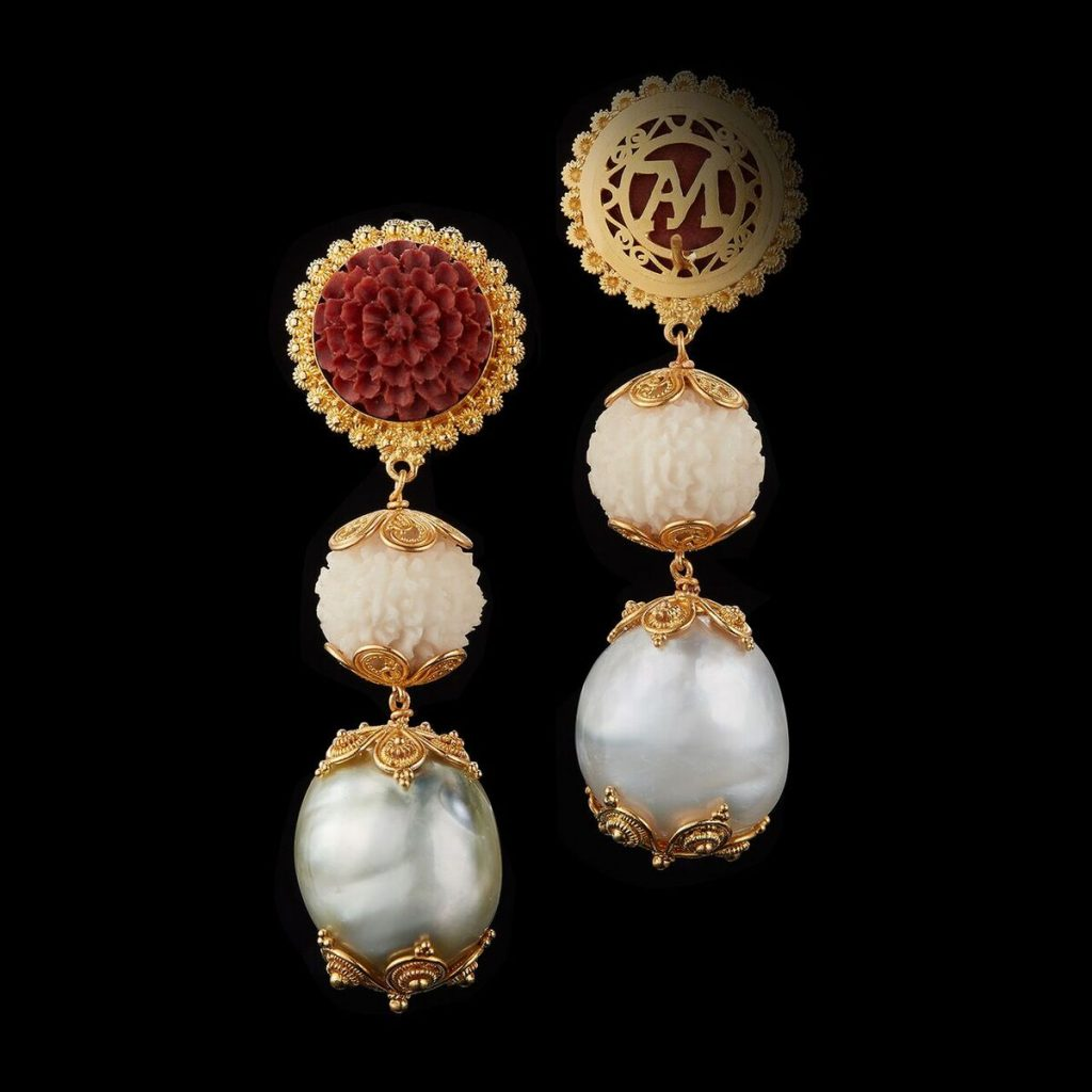 Alexandra Mor Tagua Seed Baroque perals and Carved Wooden Lotus Earrings  AMEAR TAG006 Alexandra Mor Debuts First Of It's Kind Sustainable Haute Joaillerie - Tagua Seeds Capsule Jewelry Collection - EAT LOVE SAVOR International luxury lifestyle magazine and bookazines