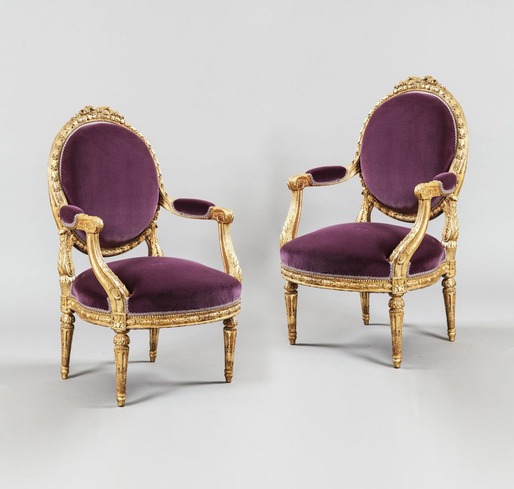 Pair Giltwood Chairs, Furniture and Decoration in the Louis XVI Style