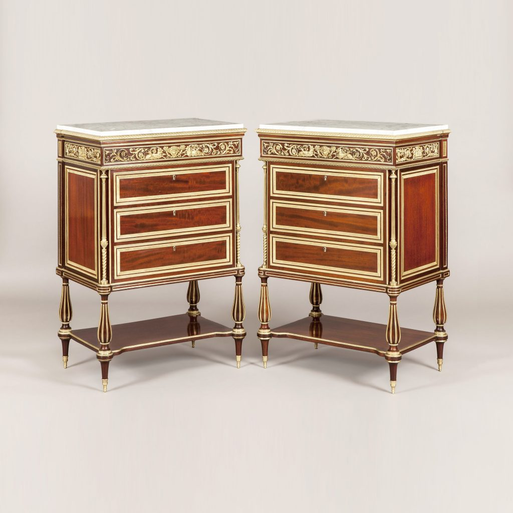 Furniture and Decoration in the Louis XVI Style Mahogany and Ormolu commodes