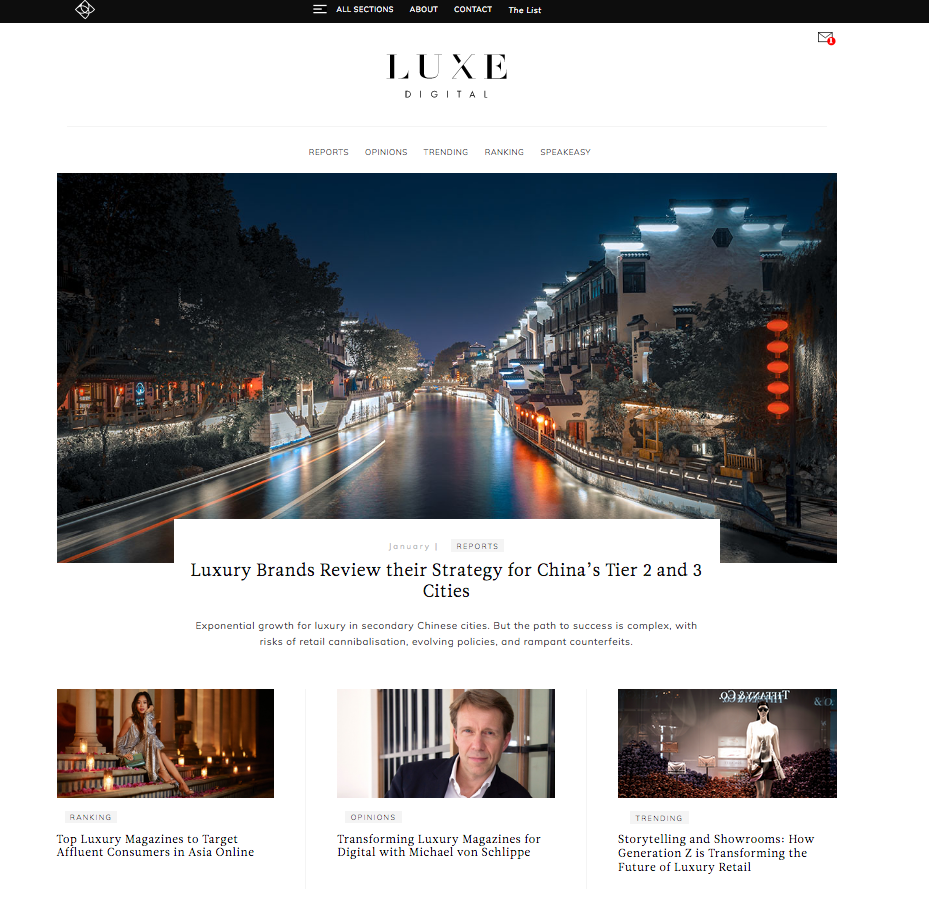 Luxe Digital screnshot Luxury Industry: Luxe Digital Guiding Digital Adoption for Luxury Brands EAT LOVE SAVOR International luxury lifestyle magazine and bookazines