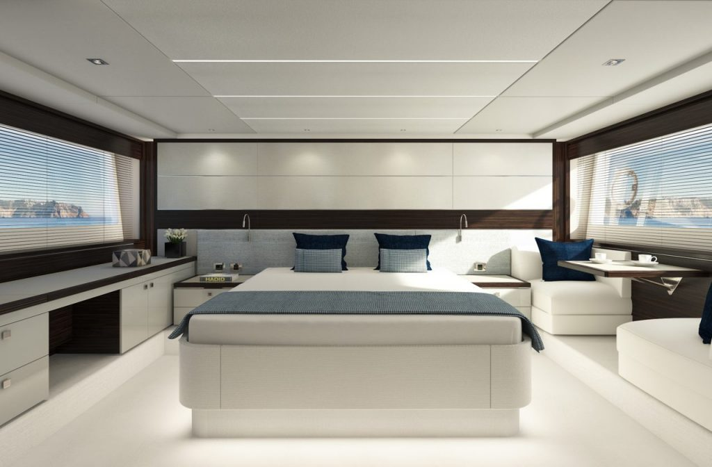 sunseeker sport yacht 74 interior bedroom 74 pred master wenge grey 0000 1280x840 Sunseeker Line Up for the Cannes Yachting Festival 2018 EAT LOVE SAVOR International luxury lifestyle magazine and bookazines