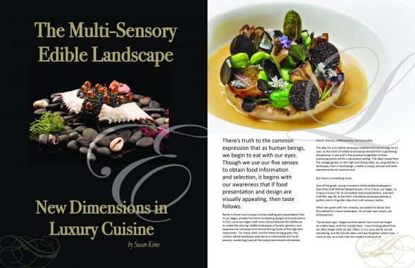 2 page spread edible landscape Delectable issue scaled Edition #5 - Travel & Escape - EAT LOVE SAVOR International luxury lifestyle magazine and bookazines
