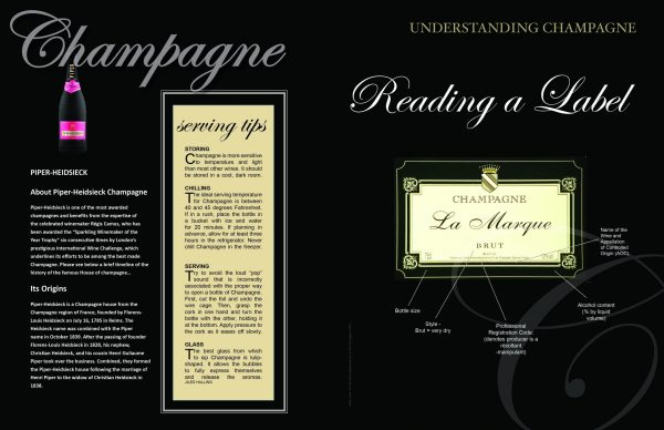 2 page spread reading a label Issue CHAMPAGNE 2017 scaled Edition #1 - Champagne - EAT LOVE SAVOR International luxury lifestyle magazine and bookazines
